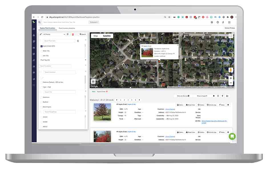 Plant health care software plant mapping